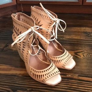 Lace up, nude, wedges, size 8.5- Jeffery Campbell